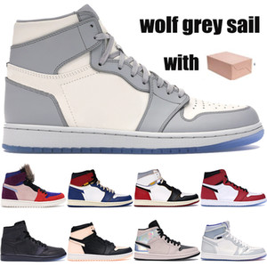 Yeni En İyi 1 1s kurt gri yelken jumman basketbol ayakkabıları örümcek adam Chicago kristal birliği Los Angeles Siyah Ayak aleali mayıs erkek kadın Sneakers