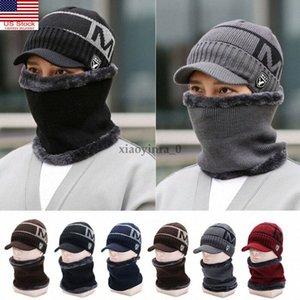 Hiver Hommes Bonnet en maille tricot Sports Visor Bonnet doublé polaire Facturé Brim Cap zB8O #