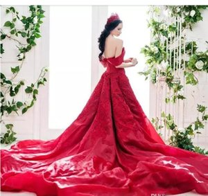 Gorgeous 2020 Red Wedding Dresses from China Off The Shoulder Big A Line Long Train Pretty Lace and Organza Custom Made Bridal Gowns