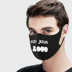 Máscara de encargo del logotipo personalizado de la boca de la mascarilla máscaras Negro de seda del hielo de algodón transpirable a prueba de polvo reutilizables para adultos niño DIY envío