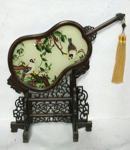 Artículos de regalo de cumpleaños de boda para el hogar Oficina de escritorio Decoración adornos accesorios de mesa artesanía chino seda bordado bordados marco de wengué