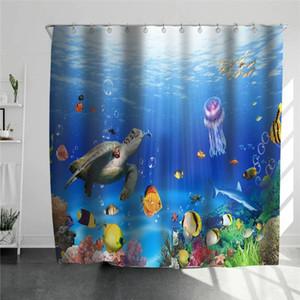수중 물고기 거북이 패턴 샤워 커튼 방수 욕실 샤워 화면 비치 로즈 커튼 키즈 바스 룸 장식
