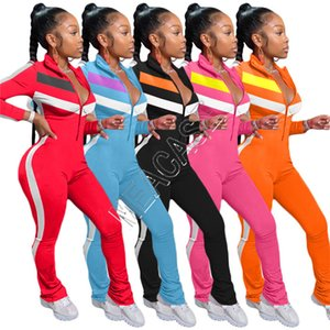 Femmes Patchwork Jumpsuits barboteuses Zipper manches longues col montant pantalon Legging Casual Trendy Ladies Onesies Jumpsuit D82008