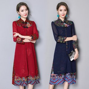 New Qipao Long Cheongsams Dress Chinese Traditional Dress Plus Size 2020 Autumn Flowers Vintage Oriental Robes TA2125
