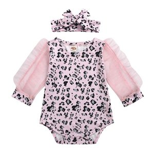INS hot sale leopard print baby rompers lace long sleeve girls rompers+bows headband 2pcs set newborn jumpsuit baby girl clothes B2006