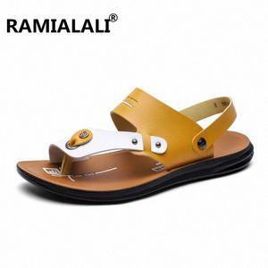 Ramialali alta qualidade Sandals Men Comfort Leather Men Sandals Classics Verão não Slip Outdoor Praia SWI0 #