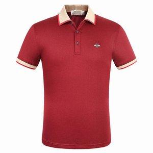 Роскошные моды классические мужские полосатые медоносной пчелы вышивка рубашка хлопок мужские дизайнера футболки белый черный красный рубашки поло мужской размер M-3XL