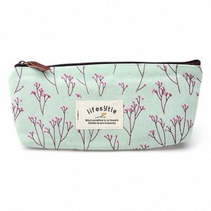 Campagne de gros-Style frais fleur floral toile Trousse stylo Sacs de maquillage cosmétiques Sac pochette portefeuille sac à glissière de stockage Purse wimG #