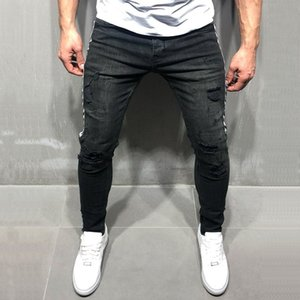 2020 pantalones vaqueros de los hombres del otoño del resorte del dril de algodón pantalones pantalones pantalón masculino flaco ocasional de la manera del lápiz del agujero rasgado Pantalones para hombres