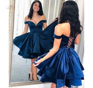 Navy Blue Homecoming Dresses A Line Off the Shoulder Tiers Real Photos Short Lady Party Dress Custom Sweet 16 Graduation Dress L