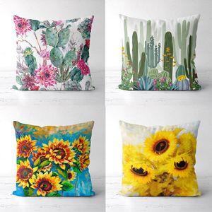 Sunflower Cushions Decorative Polyester Pillowcase Tropical Leaf Flower Pattern Cushion Cover Set Throw Pillow Sofa Home Decor