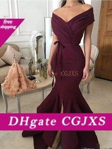 2018 темно-красный Вечерние платья Новая мода Русалка Off -Shoulder Satin Long Formal Prom Wear Split Бальные платья для женщин плюс размер