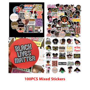 Pack of 100Pcs Mixed Black Girl Melanin Poppin And Black Lives Matter Stickers Waterproof Sticker For Notebook Skateboard Bottle Car decals