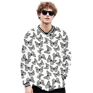 Button Cardigan Baseball Collar Designer Male Loose Casual Outdoor Sports Coats Man Butterfly Outerwear Fashion Trend 3D Digital Long Sleeve