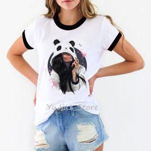 Ropa Mujer 2020 Panda девушки тенниска женщины мода смешных т рубашка Camiseta Mujer Tumblr топы футболочка ф Harajuku ulzzang