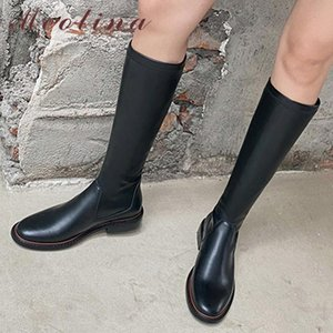 Meotina Женщины колено сапоги Обувь Натуральный натуральной кожи Flats Длинные сапоги женские осень Мода езда Зимний черный 40