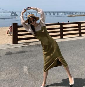 Queda WAcRP franceses estilingue irregular das mulheres 2020 / Winter Suspender saia vestido de Nova cintura mangas emagrecimento assentamento