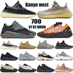 com caixa melhor oeste kanye 700 OG v1 v2 MNVN mens tênis abez cinza zyon carbono terra azul Tie-dye reflexivo sapatilhas das mulheres