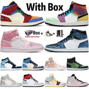 2020 avec la boîte de basket-ball Hommes Chaussures Nouveaux 1 1s Haut OG multi-couleurs Dio Tie-Dye numérique Rose UNC Obsidian Sport Baskets Sneakers