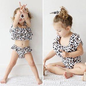 UAt3m DNwjd wear ins de style filles maillot de bain maillot de bain imprimé léopard blanc enfants + mode deux pièces d'été vêtements pour enfants