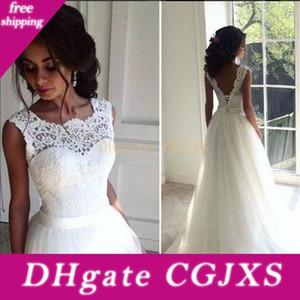 2020 White Beach sexy robes de mariée Équipage A -ligne Tulle dos ouvert dentelle Top Plus Size Bridal Robes Paryt pas cher Estidos De Novia