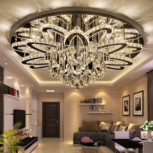 LED circulaire cristal moderne Plafonnier Lustre Led Dimmable Lustre Cristal K9 inoxydable Chrome Salon Chambre Foyer Lumière