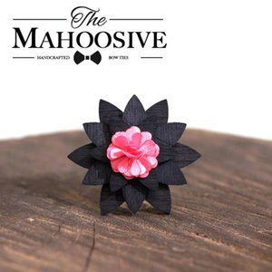 Pink Brooch Lapel Flower Wooden Wood Small Cute Brooch Lapel Pins for Groom Men Women Bow Tie Geometric MAHOOSIVE Novelty Adult