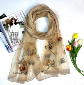 Alta calidad de la bufanda de seda las mujeres bufandas de la manera de las mujeres 2020 Nueva Bufandas Chales bordado Wrap 180x70Cm Chales