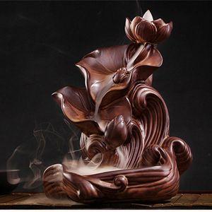 Nova quarto difusor placa refluxo cerâmica grande incenso lótus titular fragrância humidificador Buda incenso varas queimadores VLd2 #