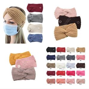 Fille Headress Tricoté Bandeau Woollen Croix Bandeaux à tricoter Headwrap avec Bouton pour l'oreille de protection Concepteurs Masque Porte-Hairlace D82701