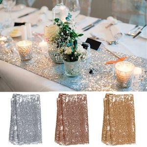 Rectangle Sequin Tischläufer Glänzendes Gold Silber Farbe Luxuxart Sticken Tischdecke Glitter für Hochzeit Weihnachtsfeier