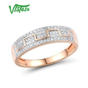 Vistoso Goldringe für Frauen echte 14K 585 Rose Gold Ring funkelnde Diamant Versprechen Verlobungsringe Jahrestag Fine Jewelry T200905