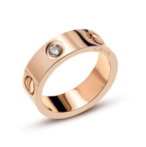 Rose Gold Stainless Steel love Ring With Original Logo Woman Jewelry Rings Men Wedding Promise Rings For Female Women Gift Engagement