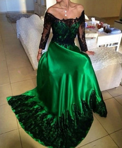 New Abendkleider Emerald Green Evening Dress Prom Dress with Black Lace Appliques Long Sleeve Vestidos Largos para Bodas