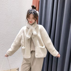 Fur coat round neck short fur coat composite sheep shearing creamy white loose, comfortable and warm casual elegant women's