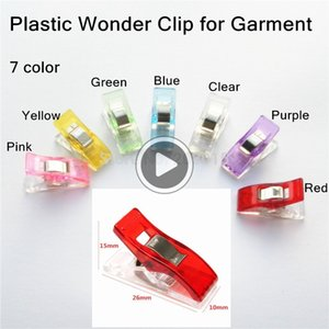 (7 Farbe) 500 Stück PVC-Kunststoff-Klee-Wonder Quilt Quilting Binding Klemmen, Federn für Patchwork Overlock Sewing DIY
