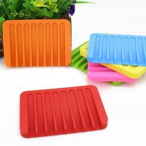 Sabão Silicone Multicolor Água Drenagem Anti Skid Soap Box Pratos Banho de sabão titulares Caso Início Bathroom Supplies 16 cores FWF1091