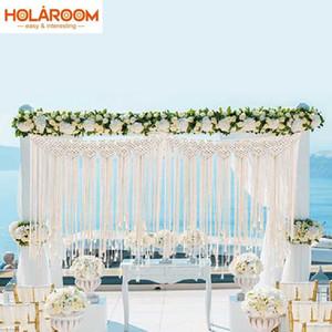 Fai da te Boho Rustic Wedding Macrame Tende ARAZZO lavorato a maglia di cotone grandi arazzi Nordic festa di nozze decorazioni esterne