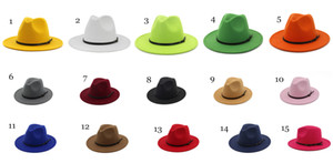 Fashion TOP hats for men & women Elegant fashion Solid felt Fedora Hat Band Wide Flat Brim Jazz Hats Stylish Trilby Panama Caps Vintage hat