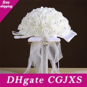 Pure White Любовь Роза Искусственные цветы Свадебные букеты невесты Свадебный букет Кристалл Ivory шелковая лента Новая Buque De Noiva Дешевые Cpa1548