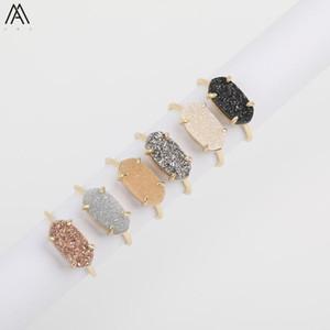 Мода женщины овального Druzy Агата Регулируемое кольцо, золото медного провод Wrap Натурального Geode Drusy Slab бисер Кольцо женских украшений
