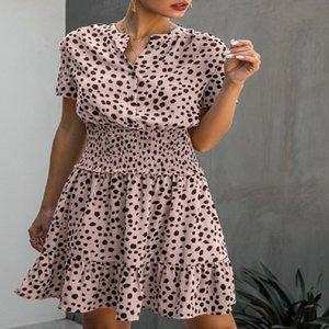 드레스 여성 레오파드 캐주얼 블랙 여름 러플 미니 드레스 버튼 여성 퍼플 웨이스트 장착 의류 2020 여성 의류