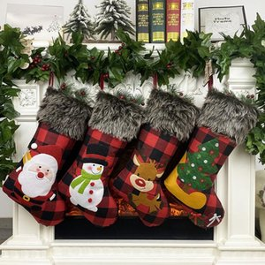 Plush Christmas Stocking Gift Bags Large Size Latticed Candy Bag Xams Tree Decoration Socks Ornament Christmas Gift Wrap AAB1935