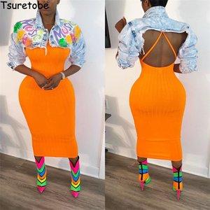 Tsuretobe Ripped Jean Jacket Women Crop Denim Veste femme Lettre Imprimer Streetwear Manteaux Automne 2020 Vêtements femmes Veste courte T200827