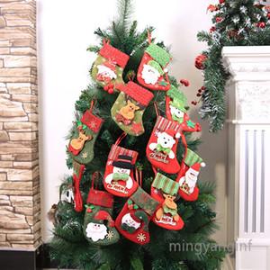 Christmas Mini Stockings Small 3D Kids Glitter Stockings, Felt Xmas Tree Santa Claus Snowman Reindeer Gift Card Holders MY-inf0398