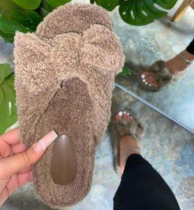 2020 Мода Открытого Отдых Furry Flat Нескользящих тапочки Мягкая Комфортная весна Женщина Главная меховой Лук сандалия