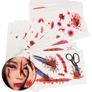 30pcs 3D Halloween Temporary Tattoos Sangue Injury Scar Spider trasferimento dell'acqua falso Adesivi Tatuaggi Trucco Body Art R01-R30