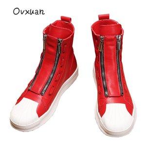 OVXUAN en cuir rouge Bottines pour hommes High Top Zip Mens Designer Hip Hop Casual Bottes Board Flat longue Botas Homme Chaussures