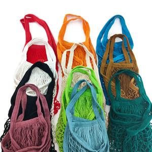 Portable Reusable Grocery Bags Fruit Vegetable Bag Washable Cotton Mesh String Organic Organizer Handbag Short Handle Net Tote.#tyu