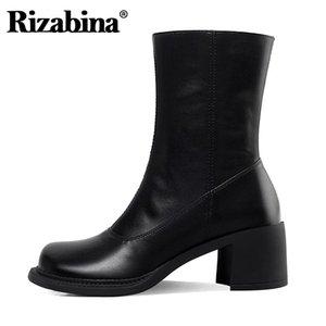 Rizabina Fashion Women Halb kurze Stiefel Frauen Zipper Schuhe Winterstiefel Frauen-starke Ferse-Schuh-Partei Schuhe Größe 34-39